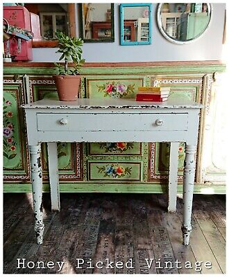 Vintage Chippy Desk Dressing Table Victorian Office Kitchen Dining White Distres