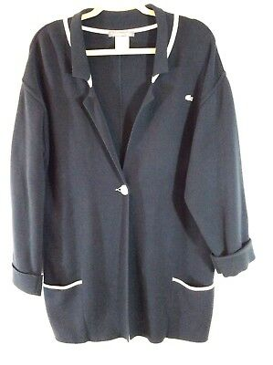 141d8ac21b LACOSTE Cardigan Knit Sweater Coat Navy Size 42 One Button Pockets Heavy  Cotton