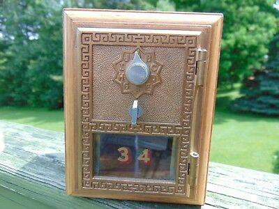 ANTIQUE  VINTAGE U. S. POST OFFICE MAIL LOCK BOX COIN BANK WOOD LTD ED w/ PAPER