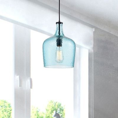 Blue Shade Glass Pendant Chandelier In Antique Black Finish