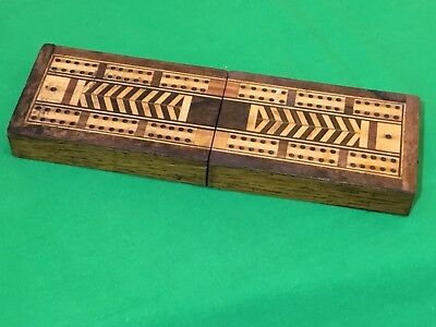 Old Antique Inlaid Wooden Cribbage Card Game Wide Playing Cards Scoring Box #5