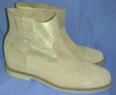 Zara Girls Boots Ankle Boots Tan Suede Glitter Size 37 US 6.5