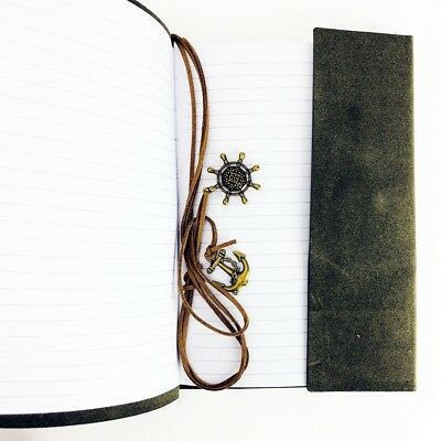 Vintage-looking, Faux-Suede Journal with Nautical Embellishments – String-tie Cl