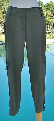 Cache Dressy Cargo Flattering Crop Pant NWT M/L 10/12 Stretch Olive Green $118