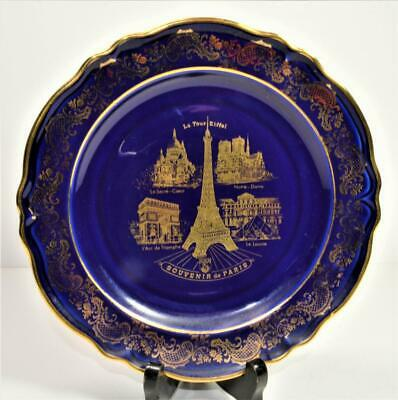 "IMPIRIA LIMOGES France Cobalt Blue Real Gold SOUVENIER de PARIS 7 1/2""d Plate"