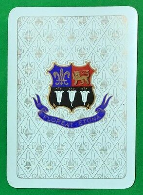 Playing Cards 1 Single Swap Card Old Antique Wide ETON COLLEGE Arms Crest Motto