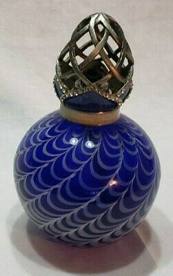 """Hand Blown Glass Iridescent Cobalt Blue Oil Lamp with Pewter Lid 7"""" Tall"""