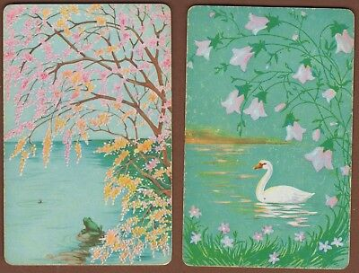 Playing Cards 2 x Single Card Old TREE BLOSSOM Lake SWAN Frog FLOWERS Art Design