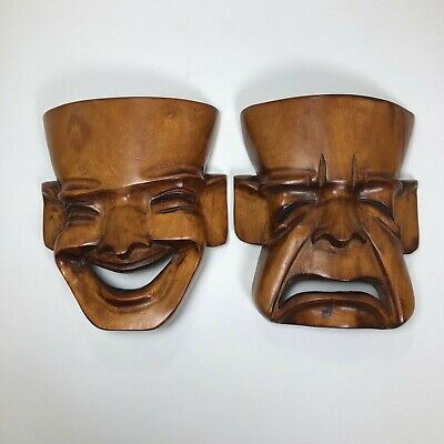 2 Wood Theatrical Faces ~ Happy and sad ~ Hand Carved Solid Wood Decoration