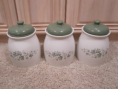3 Vintage Corelle White & Green Ivy Kitchen Cookie Jars or Canisters FREE SHIP