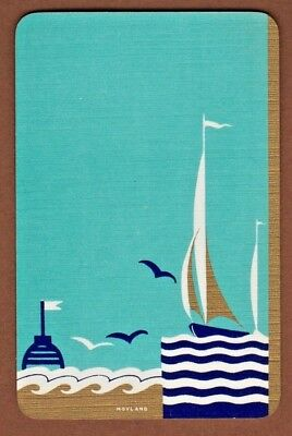 Playing Cards 1 Swap Card Old Vintage Art Deco SAILING YACHT + SEAGULLS Hoyland