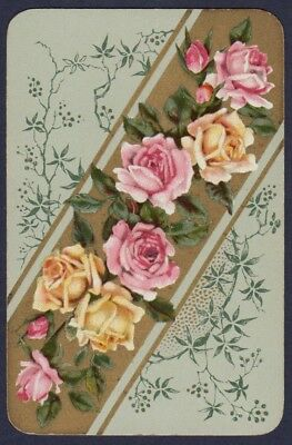 Playing Cards 1 Single Swap Card - Antique German Wide ** ROSE FLOWERS ** Roses