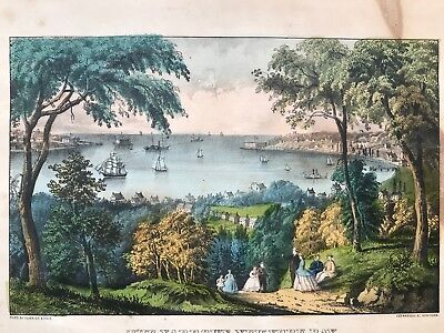 The Narrows, New York Bay From Staten Island, Currier And Ives Small Folio Exc.