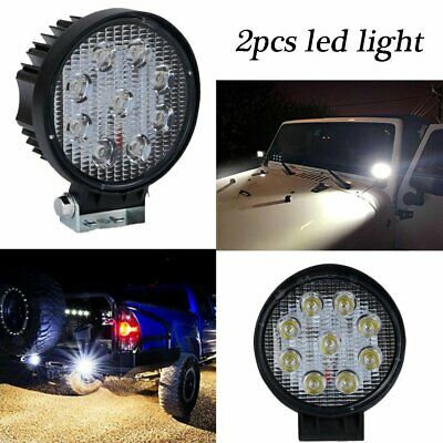 2PCS 4INCH 27W Round LED WORK LIGHT BAR Spot OFFROAD DRIVING FOG LAMP 12V USA