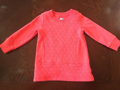Baby Gap Girls Beautiful Pink/ Coral Quilted Dress Size 18-24 M
