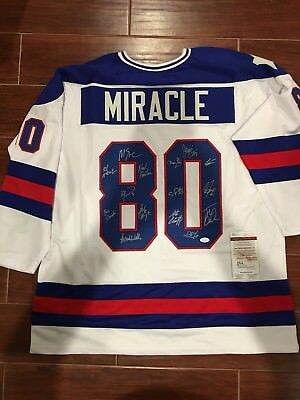 1980 Miracle On Ice Team USA Autographed White Jersey W/ 15 Sigs- JSA Witness