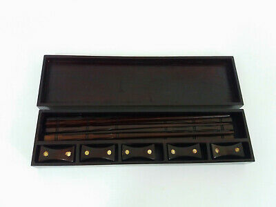 Wooden Box with 4 Pairs of Chop Sticks and Rests