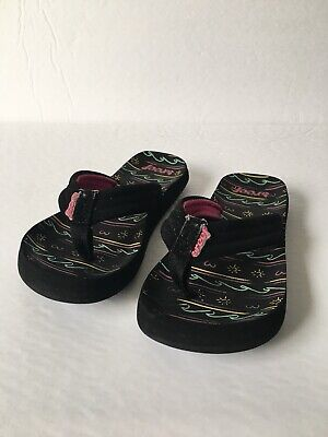 5b93db052 REEF LITTLE GIRLS Sandals Flip Flops Magenta Black Sparkle Size 11 ...