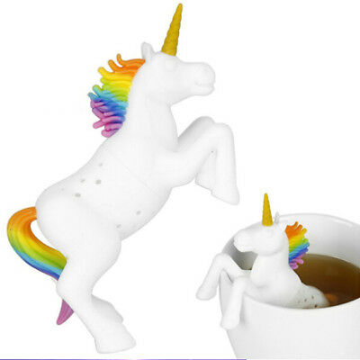 Cute Silicone White Unicorn Tea Leaf Strainer Herbal Spice Infuser Tea Filter SG