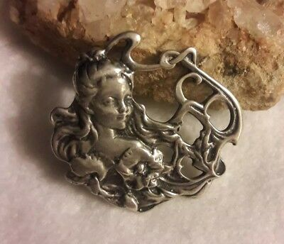 Old Vintage Sterling Silver Art Nouveau Lady Face Flower Pendant