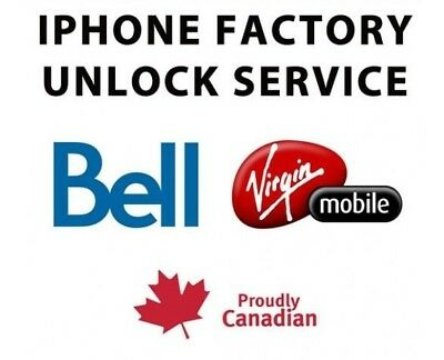 BELL VIRGIN CANADA FACTORY UNLOCK SERVICE FOR iPHONE 7+ 7 6S+ 6S 6+ 6 5S 5SE 5 4