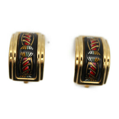 HERMES EMAILE Earring Metal Cloisonne Gold Black Multicolor Accessory Accessor