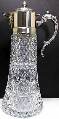 "14"" Silver Plate & Glass Claret Wine Pitcher Ewer Decanter Jug w/ Ice Insert"