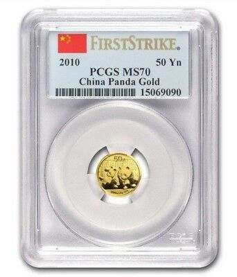 "2010 50¥ China Gold Panda ""PCGS FIRST STRIKE MS70"" - .999 Fine Gold"