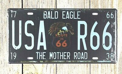 wall hanging with plaque Bald Eagle USA R66 tin sign car plate