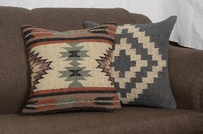 2 Set of Indian Hand Woven Kilim Cushion Cover Jute Pillows Ethnic Decorative