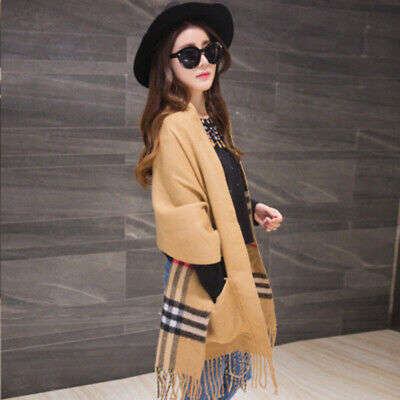 Women Fashion Scarf Faux Cashmere Plaid Print Long Shawl Stole with Pocket 190cm