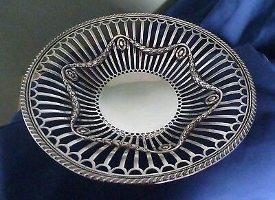 Antique English Sterling Silver Open Work Bowl by James Dixon & Sons