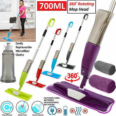 700ml Microfibre Spray Mop Water Spraying Kitchen Floor Tiles Marble Cleaner Pad
