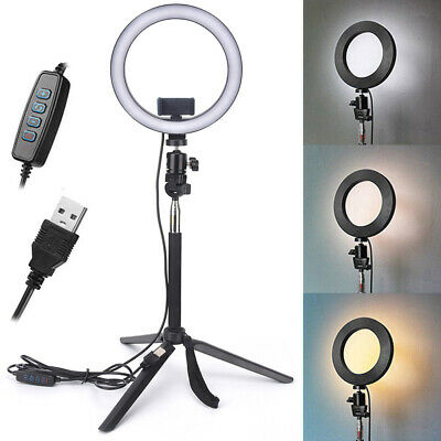 "10"" Dimmable 5500K LED Ring Light Kit + Tripod for Phone Camera Selfie  Nt"