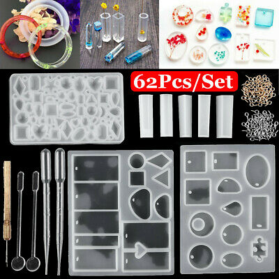 62Pcs Resin Casting Molds Jewelry Making Silicone Mould Metal Pendant Craft Kit
