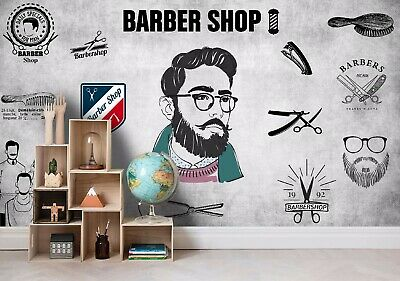 Vintage Styled Barber Shop Photo Wallpaper Wall Mural Decor