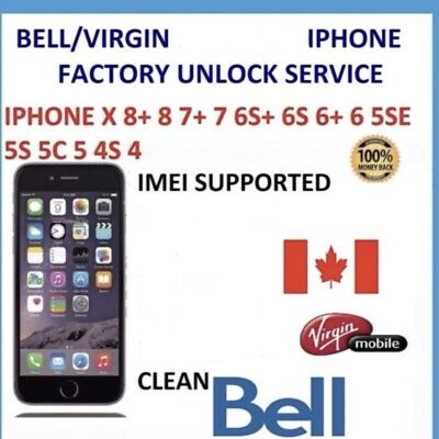 Bell Virgin Canada Iphone Unlock - Fast Clean
