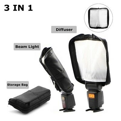 3 in 1 Universal Mini Portable Softbox Diffuser for Flash Speedlite Speedlight