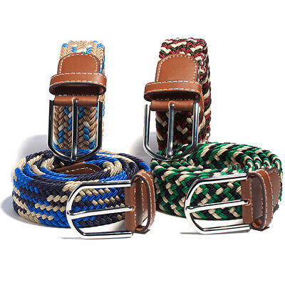 US Men Women Stretch Elastic Woven Cotton Canvas Leather Pin Buckle Waist Belts