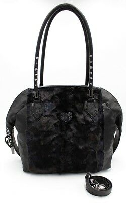 149dc8ffb4 Bruno Amaranti Borsa Visone Nero/bag Black Mink Ostrich Leather Swarovski
