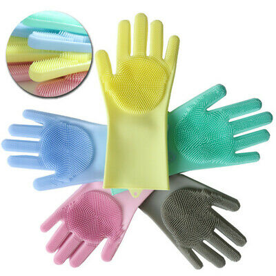 1Pair Magic Silicone Rubber Dish Washing Gloves Scrubber Cleaning Sponge Kitchen