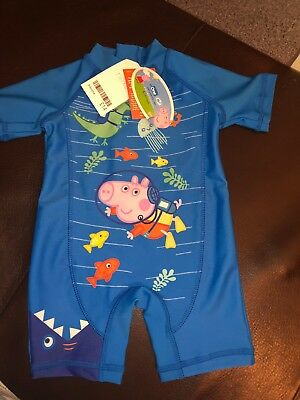 New Next Boys Peppa Pig Swimwear Size 3-6 Months sun protection Swim Costume.