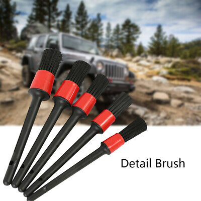 5 x Natural Boar Hair Detail Brush Set Automotive Detailing For Car Cleaning