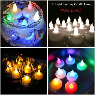 12PCS Waterproof Floating Battery LED Tea Lights Flameless Wedding Party Candles