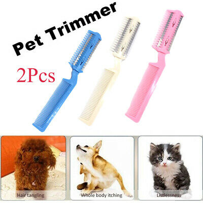 2Pcs Pet Hair Trimming Razor Grooming Comb Blades Thinning Hairdressing Tools~
