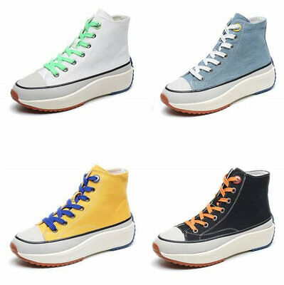 Women Lace Up Hi Top Fashion Canvas Sneakers Flat Platform Creepers Oxfords Punk
