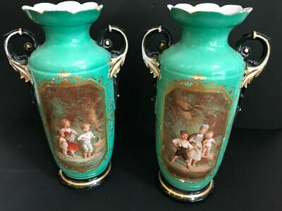 PAIR large French antique vieux paris porcelain Vases romantic victorian