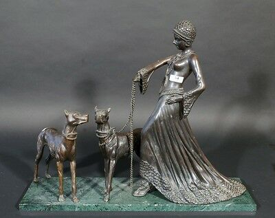 Huge XL Bronze 1930 Art deco lady statue dogs leash on marble base