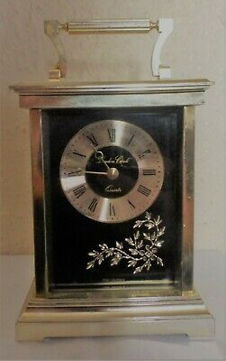 Brass London Clock West Germany Quartz Carriage Clock Decorated & Bevel Edge