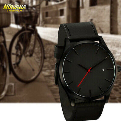 Men's Fashion Sport Stainless Steel Case Leather Band Quartz Analog Casual Watch